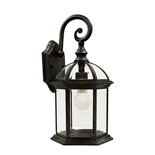 XHJJDJ Lighting Contemporary Collection Exterior Outdoor Wall Lantern With Beveled Clear Glass Outdoor Lighting (Color : Black) (Contemporary Beveled Glass)