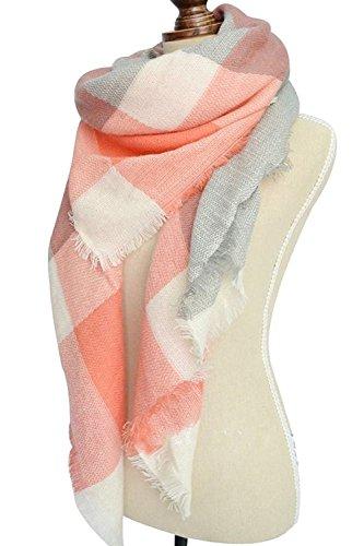 Women's Winter Soft Plaid Tartan Checked Scarf Large Blanket Wrap Shawl  Orange-white 140 by 140cm by WAYNE FINKELSTEIN