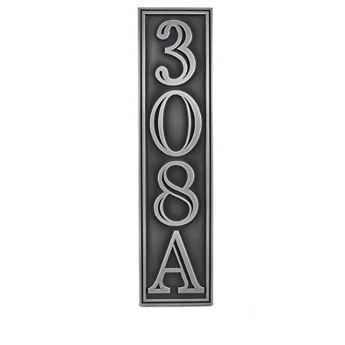 Hesperis Vertical Address Plaque 4# 5x20 - Raised Pewter Coated by Atlas Signs and Plaques