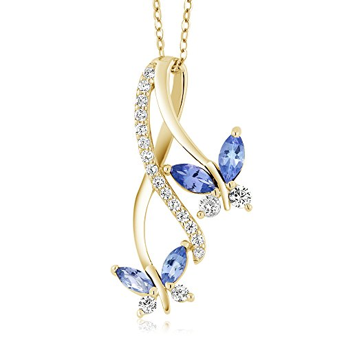 - 18K Yellow Gold Plated Silver Marquise Blue Tanzanite Butterfly Infinity Pendant Necklace with 18 inch Chain (1.21 cttw)