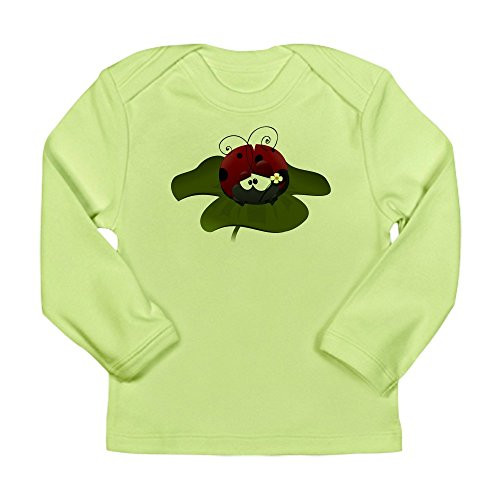 Ladybug Organic Baby T-shirt - Truly Teague Long Sleeve Infant T-Shirt Cute Little Lady Bug Sitting On a Clover - Kiwi, 0 To 3 Months