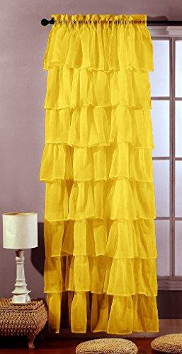 1kidandaheadache 1 Piece Yellow Gypsy Ruffled Window Curtain Treatment Panels Drape 84″ Length