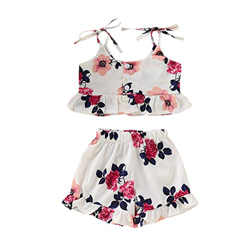 Toddler Little Girl Floral Halter Ruffled Outfits Set Strap Crop Tops+Bell-Bottomed Short Pants 2 PCS Clothes Set (White, 5-6 Years) ()
