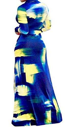 Confortable À Manches Longues Élégant Femmes Coolred Imprimé Robe De Soleil Maxi Comme Image