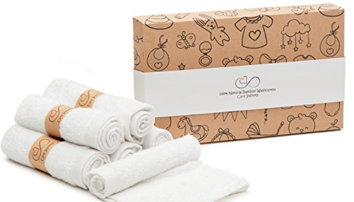 Baby Bamboo Premium Washcloths pack of 6 / 100% Natural Organic Dye Free Washcloth / Hypoallergenic washcloths for sensitive soft skin / Excellent Baby Shower Gift / Best Option for Baby Gift Baskets