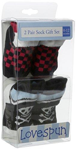 Lovespun Baby-Boys Newborn Pirate 2 Pack Gift Box Sock Set, Assorted, 0-12 Months/Petite