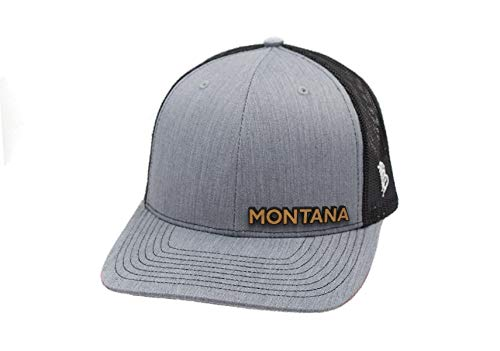 Branded Bills 'The Montana' Leather Patch Hat Curved Trucker - OSFA/Heather -