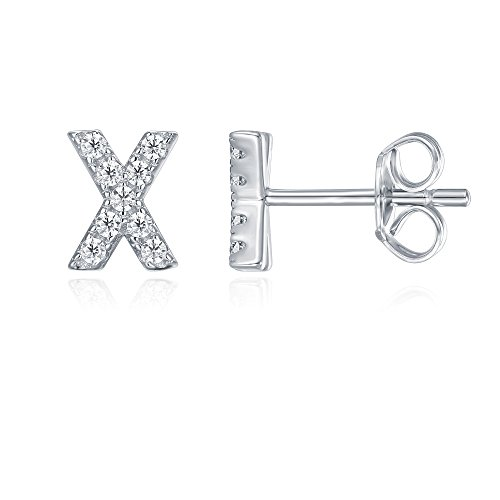 PAVOI Sterling Simulated Earrings Alphabet product image