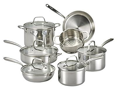 Lagostina Q553SA64 Martellata Tri-ply Hammered Stainless Steel Dishwasher Safe Oven Safe Cookware Set