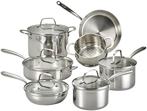 Lagostina Q939sc64 Tri Ply Stainless Steel Multiclad Dishwasher Safe Oven Safe Glass Lid Cookware Set 12 Piece Silver Amazon Sg Home