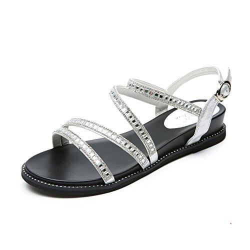 XZGC - Sandalias de vestir de poliuretano para mujer plata