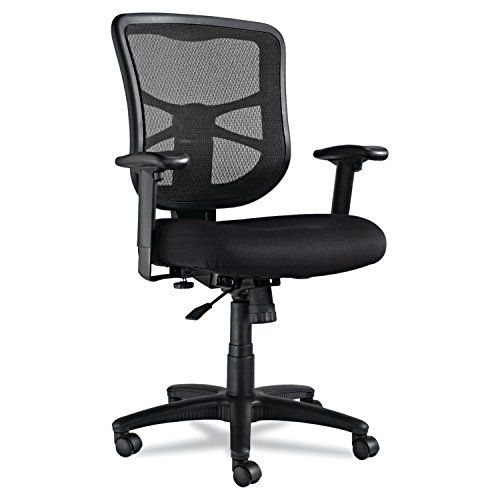 (Alera Elusion Series Mesh Mid-Back Swivel/Tilt Chair, Black)