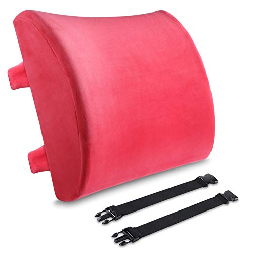 - Lumbar Support Pillow, BESTIN Memory Foam Backrest Velvet Orthopedic Cushion Waist Pain Relief Back Buffer for Office Chairs and Car Seats -Red