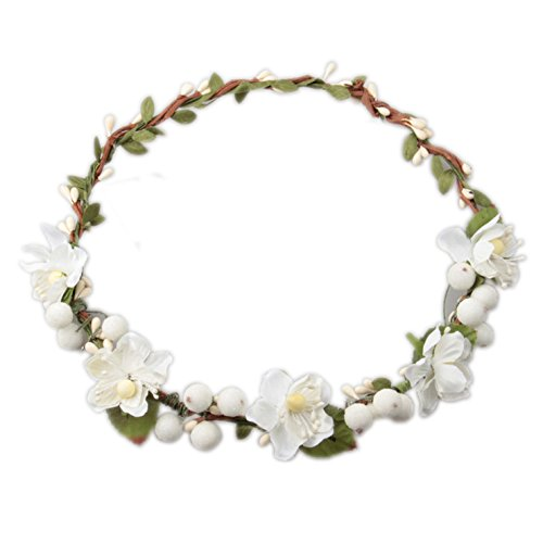 Love Sweety Flower Berries Crown Headband for Wedding Festivals HH7 (White) -