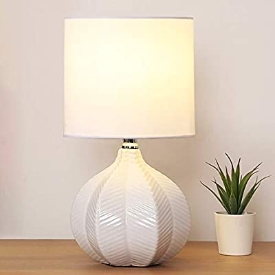 """SOTTAE Modern Style Small Ceramic Milk Color Unique Desgin Bedside Table Lamp, Cute Desk Lamp with White Fabric Shade… - Small cute size: Diameter: 7.09"""", Height:13.2"""", Attention: please clearly the size when you look through our product. Input: AC 110V - 120V. Lamp Can be used with LED, CFL, Incandescent Medium base bulbs(Bulbs are not included). Elegant design: Modern style, simple and chic ceramic lamp body with white fabric lampshade. - lamps, bedroom-decor, bedroom - 41D%2BmdIlo1L. SS400  -"""