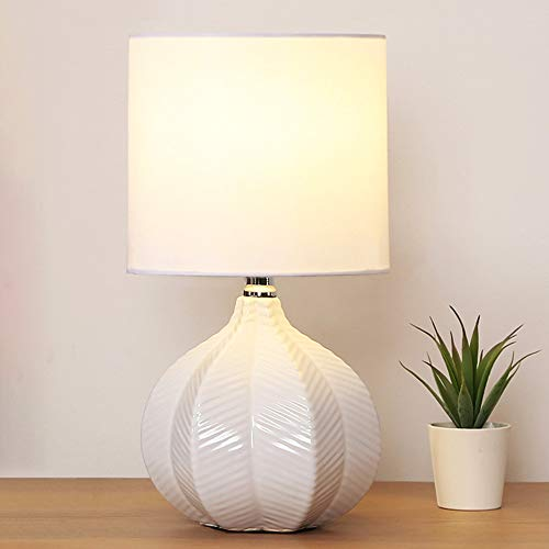 SOTTAE Modern Style Small Ceramic White Unique Desgin Bedside Livingroom Bedroom Table Lamp, Cute Desk Lamp with White Fabric Shade