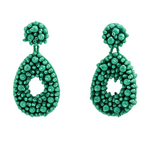 Sacow Tassel Earrings,Hoop Tassel Earrings for Women Statement Handmade Beaded Fringe Dangle Earrings - Charming Green Jade Earring