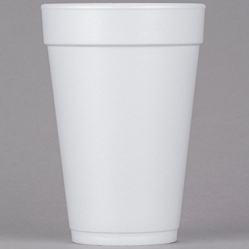 Dart 16J16, 16 Oz. White Foam Cup with White Lift'n'Lock Plastic Cup Lid, Customizable Disposable Hot and Cold Drink Beverage Tea Coffee Cups (50)