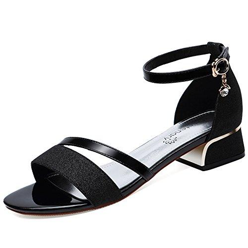 Zapatos Confort Sandalias Pies black Alto Cm Medio De De KPHY Verano Verano Dedos Hebilla Tacon De Mujer De Los Tacon 3 Tacones Zapatos xqIwBS0Zt