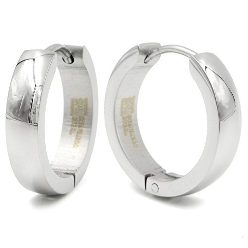 Stainless Steel Curved Face Round Hoop Earrings Gold Silver Black 18mm
