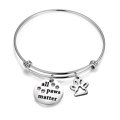 ter Paw Print Charm Bracelet Pet Rescue Gift Dog Cat Animal Lovers (all paws matter) ()