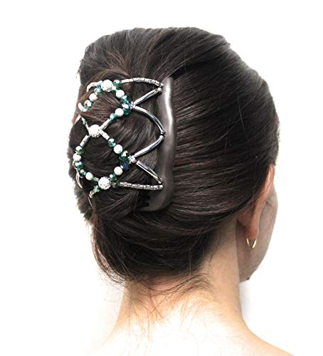 FANCY COMBS Premium Interlocking Hair Comb Clip For Women - Bun Maker, Ponytail & French Twist Holder For Long, Short, Thick Or Thin Hair - Decorative Hair Accessories (M/Large, Emerald Beads, Beige) ()