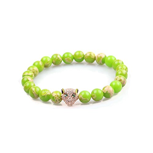 Elegant Jeweled Charm - Big Cat Rescue Genuine Green Agate Stone Beads Stretchy Elastic Bracelets with Jeweled Leopard Head Charm, 8mm, Unisex, for Friendship, Couples, Teens
