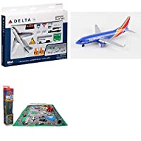 "Toy Airplane Playset - Airport Playmat with Two 5.5"" Diecast Model Planes & Accessories - Delta, Southwest Airlines"