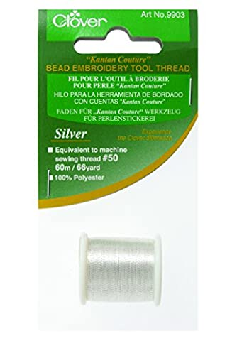 Clover Kantan Couture Bead Embroidery Tool Thread-Silver - Kantan Couture Bead Embroidery Tool