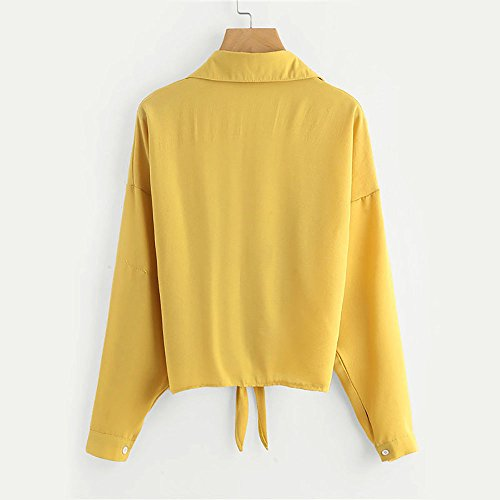 Chemisier Tops Bandage Blouses Femme imprim Blouse Casual Taille Manches Shirt Jaune Weant Col Chemisiers Blouse Femme Ray Grande V Longues q0FtTW4