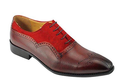 Da uomo bicolore in vera pelle scamosciata e pelle rosso Oxford lacci Smart Dress Shoes