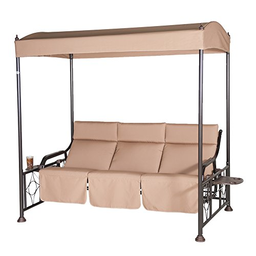 Abba Patio 3 Person Outdoor Patio Gazebo Swing Glider with Steel Frame and Teapoy, Tan by Abba Patio