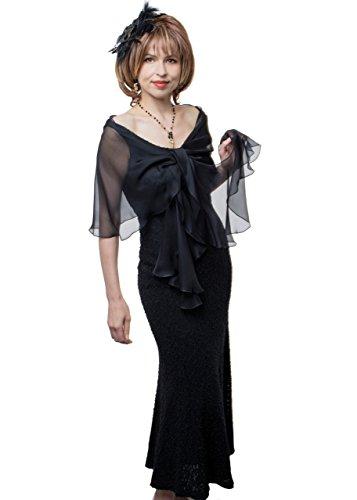 Black Evening Wedding Silk Chiffon Scarf Wrap Shawl by Lena Moro