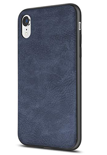 Soft Leather Case Cover - Salawat Compatible with iPhone Xr Case, Slim PU Leather Vintage Shockproof Phone Case Cover Lightweight Premium Soft TPU Bumper Hard PC Hybrid Protective Case for iPhone Xr 6.1inch 2018 (Blue)