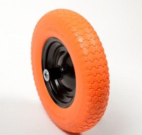 Globe House Products GHP 16'' Axle Flat Free Polyurethane Wheelbarrow Tire w Steel Rim & Sealed Bearings