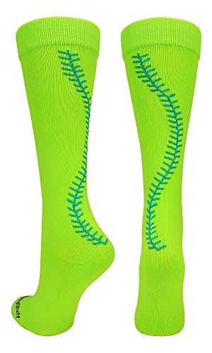 (MadSportsStuff Softball Socks with Stitches Over The Calf (Neon Green/Electric Blue,)