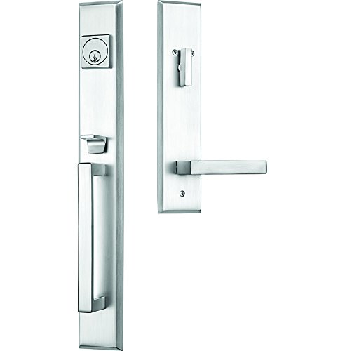 Rockwell Premium Lumina Solid Brass Entry Door Handle Set with Delta Lever in Brushed Nickel Finish for 5-1/2_ Double Bore with an Adjustable Bottom screwhole Location