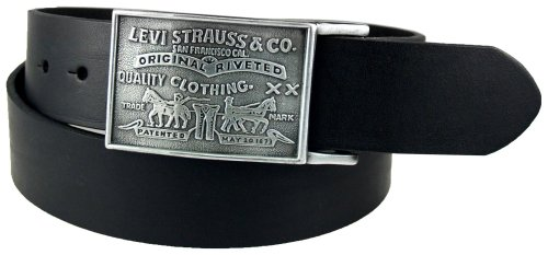 Belt Logoed Buckle Mens (Levi's Men's 1 1/2 in.Plaque Bridle Belt With Snap Closure,Black,42)