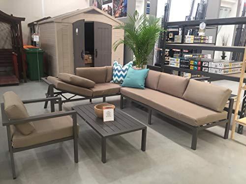 Stellahome Aluminum Outdoor Sectional Patio Sofa Furniture Modular 4Pcs Conversation Set Tan,No Assembly w/Adjustable Lounge Recliner (Rattan Conservatory Modern Furniture)