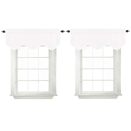 White Valances For Bedroom Windows Blackout Thermal Insulated Curtain  Valances For Kitchen Bathroom, Rod Pocket