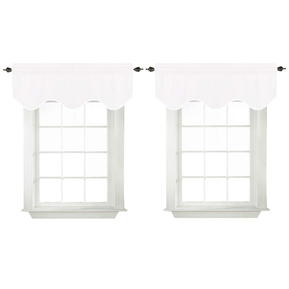 White Valances for Bedroom Windows Blackout Thermal Insulated Curtain Valances for Kitchen Bathroom, Rod Pocket 52'' x 18'', Set of 2, Pure White