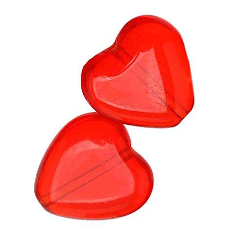 Czech Glass - Heart Shaped Beads 10x9.5mm 'Light Siam Ruby' (25)
