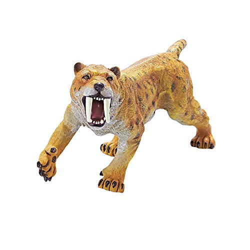 RECUR Roaring Smilodon Figure Saber Toothed Tiger Toy, Realistic 7.8inch PVC Large Tiger Figurine Ice Age Model Collectibles Birthday Gift for Boys Girls 3 and Up