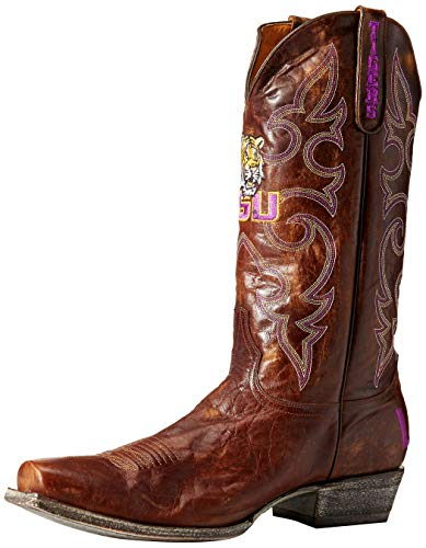 NCAA LSU Tigers Men's Board Room Style Boots, Brass, 8 D (M) US