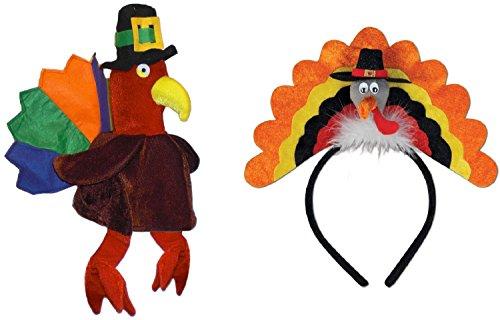 Turkey Trot 5k Costumes (Velvet Pilgrim Turkey Hat Trot Headband Thanksgiving Fall Autumn Costume Set)