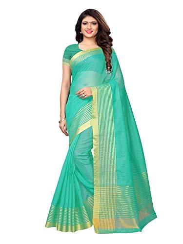 (KANCHNAR Women's Turquoise Green Zari Woven Kota Doria Saree with Unstitched Blouse)