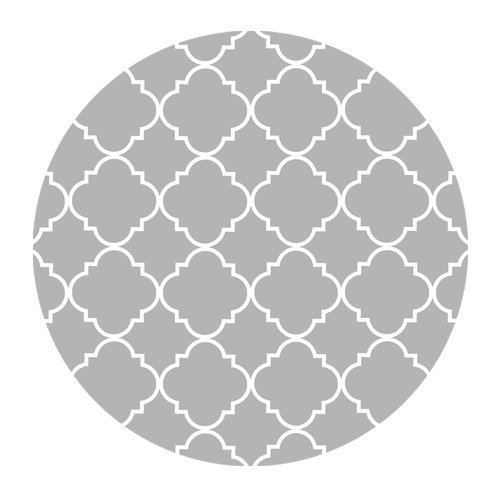 Light Grey Quatrefoil Pattern Cloth Cover Round Mouse Pad 7.87