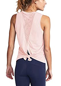 Mippo Women's Sexy Workout Tank Tops Muscle Mesh Shirts Loose Fit Sleeveless High Neck Open Back Shirts Yoga Tank Tops Exercise Gym Sports Hiking Tee Shirts Summer Clothes Pink M