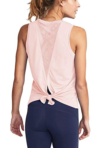 Mippo Womens Cute Workout Tank Tops Summer Hiking Clothes Sleeveless Beach Open Back Work Out Shirts Gym Yoga Tops Muscle Tanks Athletic Running Tank Tops for Women Pink L