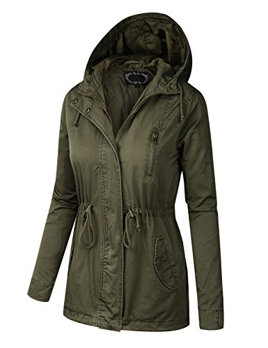 BILY Women Junior Fit Military Anorak Safari Hoodie Jacket Olive Medium